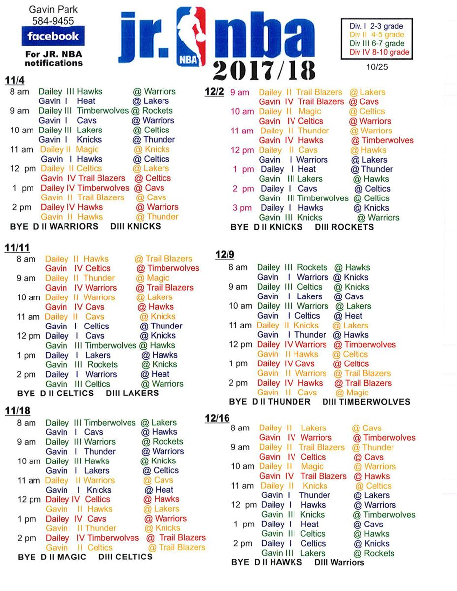 Jr NBA Schedule 2018   Town of Wilton